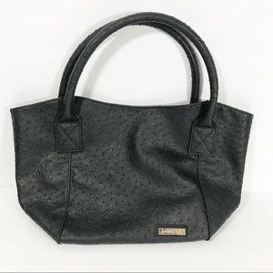 Louenhide black ostrich vegan leather shoulder bag